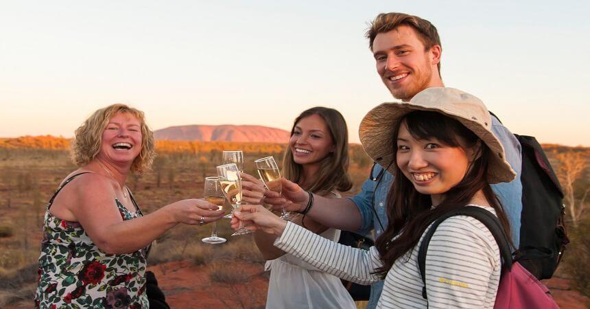 drinks during uluru sunset