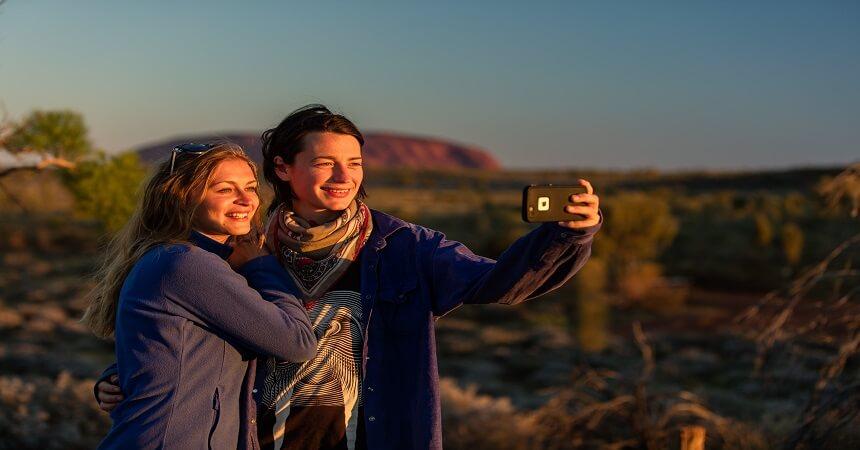 taking selfie at uluru